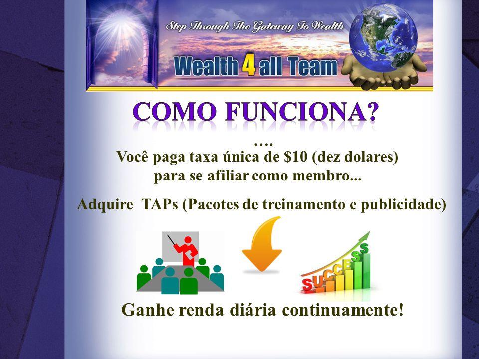 Adquire TAPs (Pacotes de treinamento e publicidade) Ganhe renda diária continuamente.