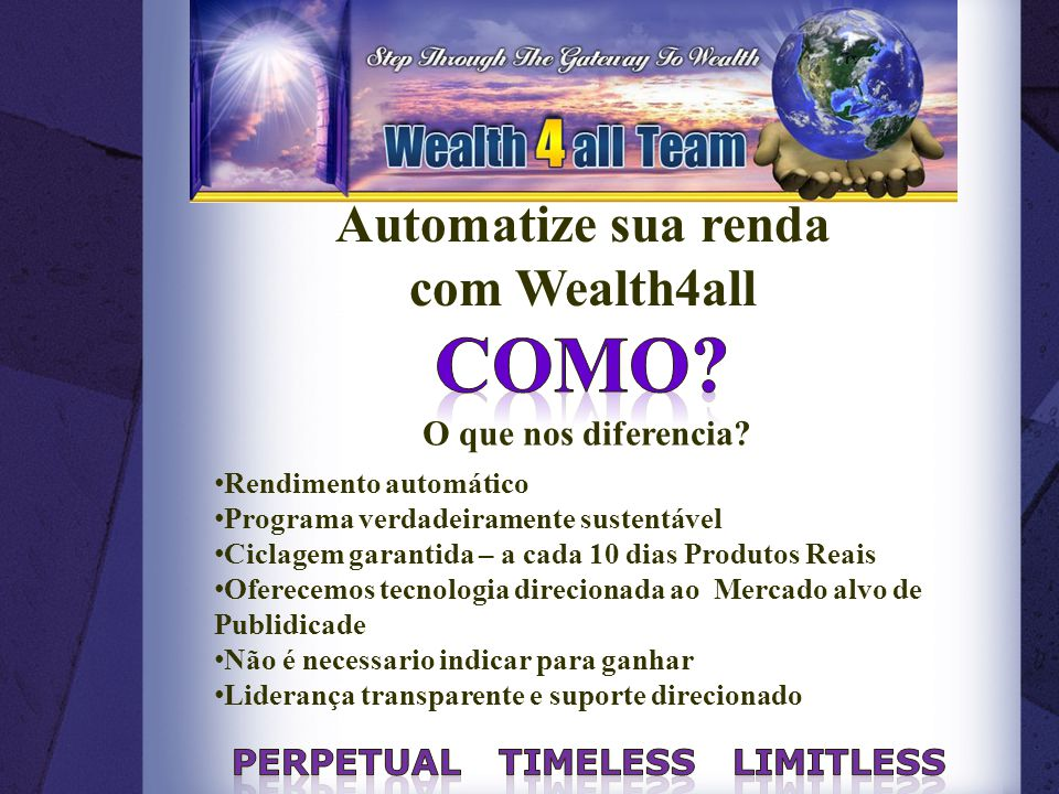 Automatize sua renda com Wealth4all O que nos diferencia.