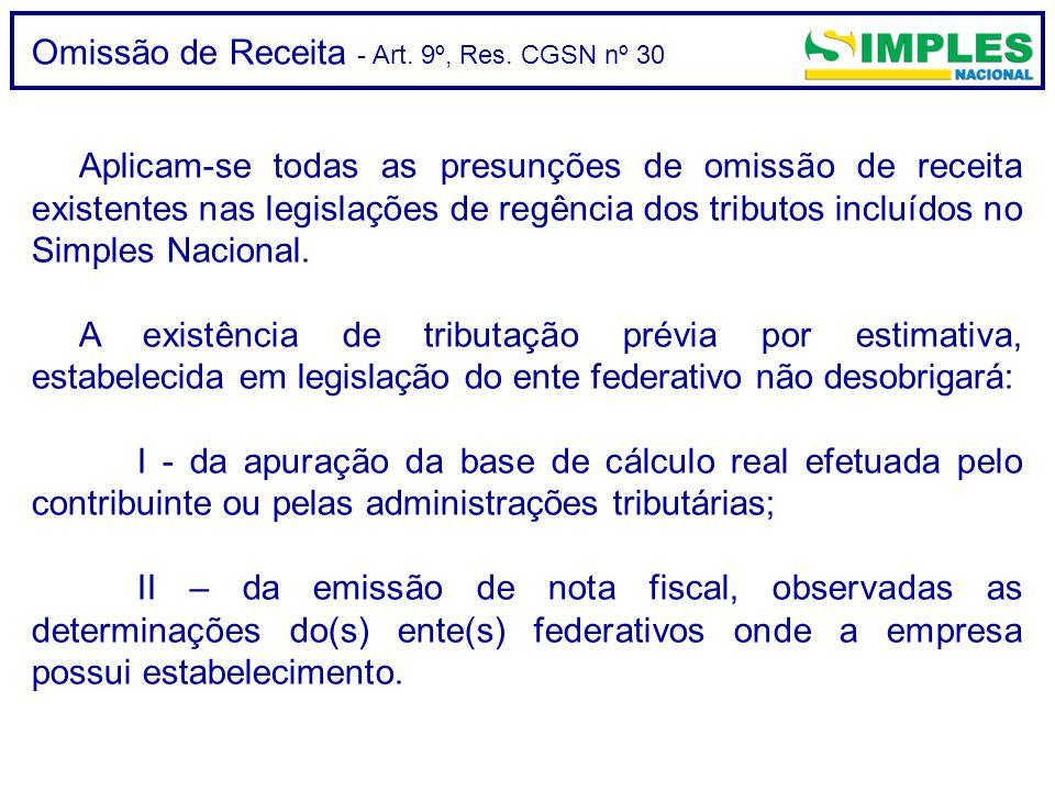 Omissão de Receita - Art. 9º, Res. CGSN nº 30 Aplicam-se todas as presunções de omissão de receita existentes nas legislações de regência dos tributos