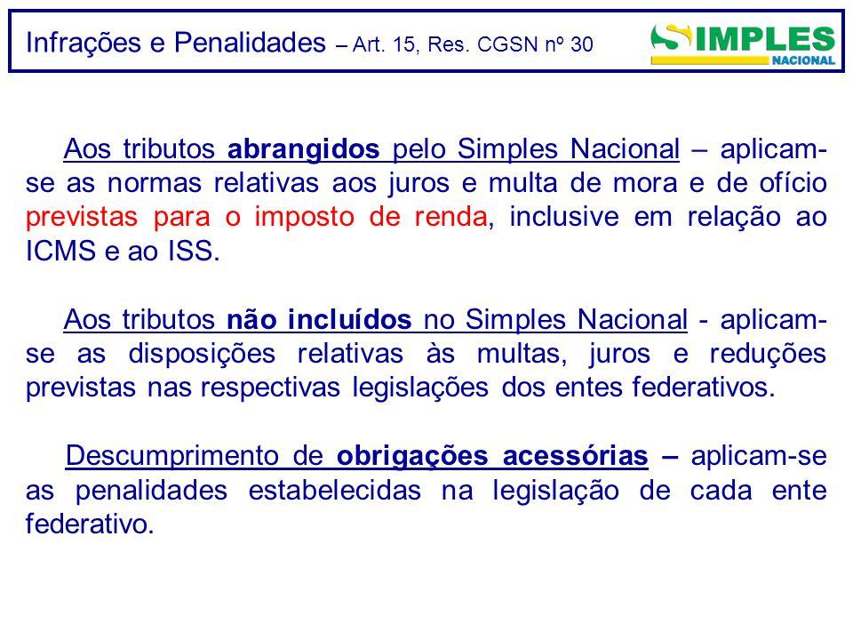 Infrações e Penalidades – Art. 15, Res. CGSN nº 30 Aos tributos abrangidos pelo Simples Nacional – aplicam- se as normas relativas aos juros e multa d