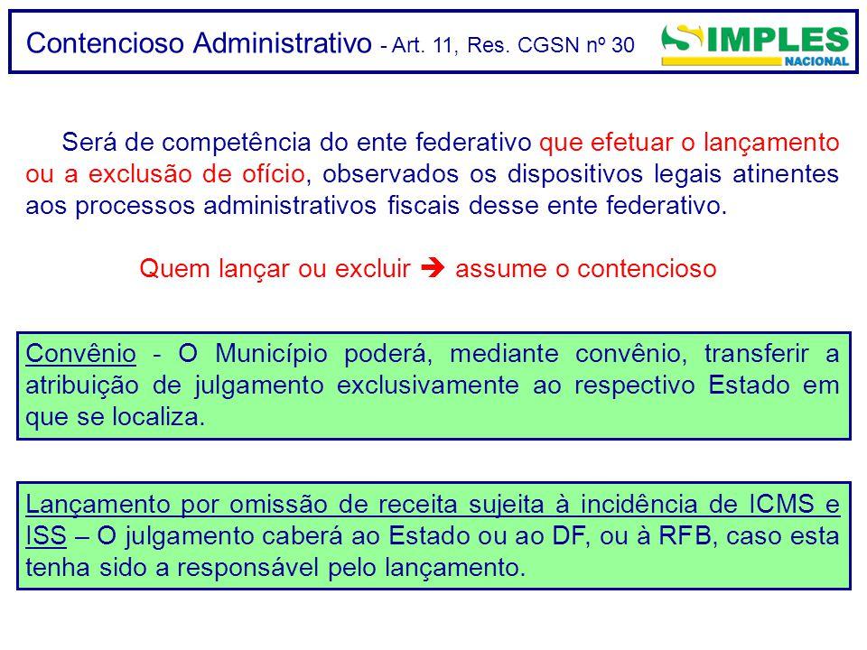 Contencioso Administrativo - Art. 11, Res. CGSN nº 30 Será de competência do ente federativo que efetuar o lançamento ou a exclusão de ofício, observa
