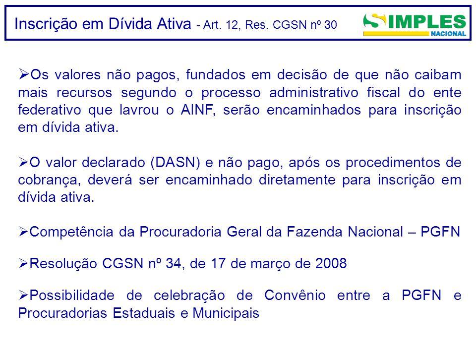 Inscrição em Dívida Ativa - Art. 12, Res. CGSN nº 30  Os valores não pagos, fundados em decisão de que não caibam mais recursos segundo o processo ad