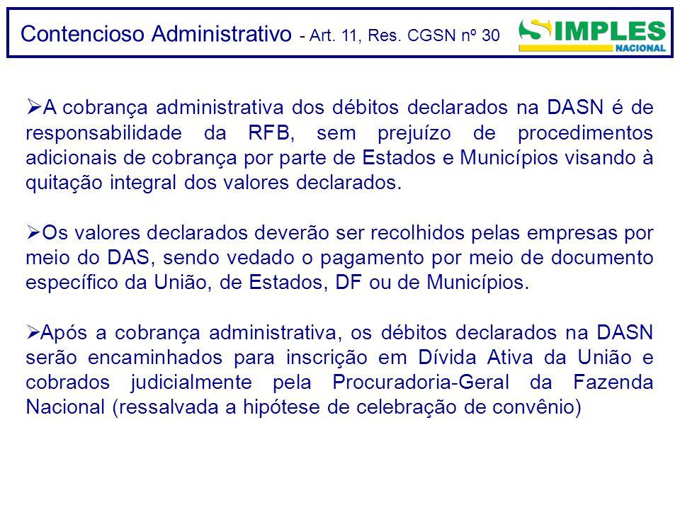 Contencioso Administrativo - Art. 11, Res. CGSN nº 30  A cobrança administrativa dos débitos declarados na DASN é de responsabilidade da RFB, sem pre