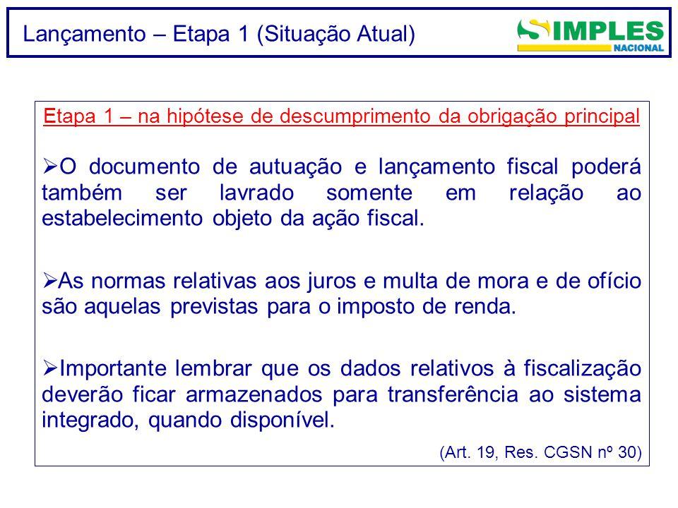 Lançamento – Etapa 1 (Situação Atual) Etapa 1 – na hipótese de descumprimento da obrigação principal  O documento de autuação e lançamento fiscal pod