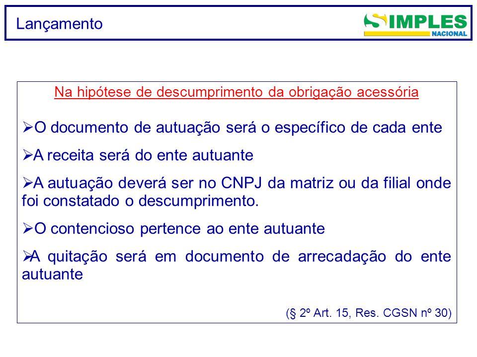 Lançamento Na hipótese de descumprimento da obrigação acessória  O documento de autuação será o específico de cada ente  A receita será do ente autu