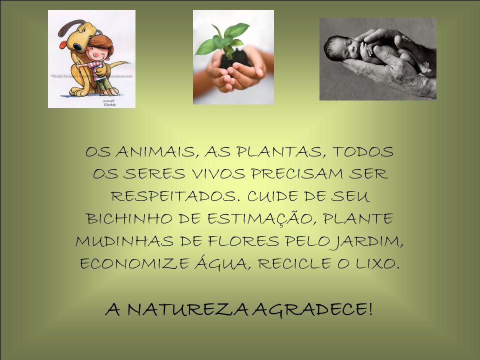 OS ANIMAIS, AS PLANTAS, TODOS OS SERES VIVOS PRECISAM SER RESPEITADOS. CUIDE DE SEU BICHINHO DE ESTIMAÇÃO, PLANTE MUDINHAS DE FLORES PELO JARDIM, ECON
