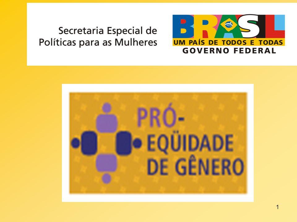2 Programa Pró-Eqüidade de Gênero Oportunidades Iguais e Respeito as Diferenças Governo Federal - Secretaria Especial de Políticas para as Mulheres da Presidência da República - Plano Nacional de Políticas para as Mulheres – II PNPM.