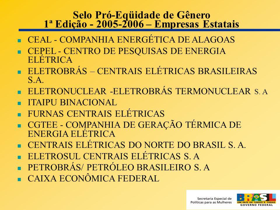 13 Selo Pró-Eqüidade de Gênero 1ª Edição - 2005-2006 – Empresas Estatais CEAL - COMPANHIA ENERGÉTICA DE ALAGOAS CEPEL - CENTRO DE PESQUISAS DE ENERGIA