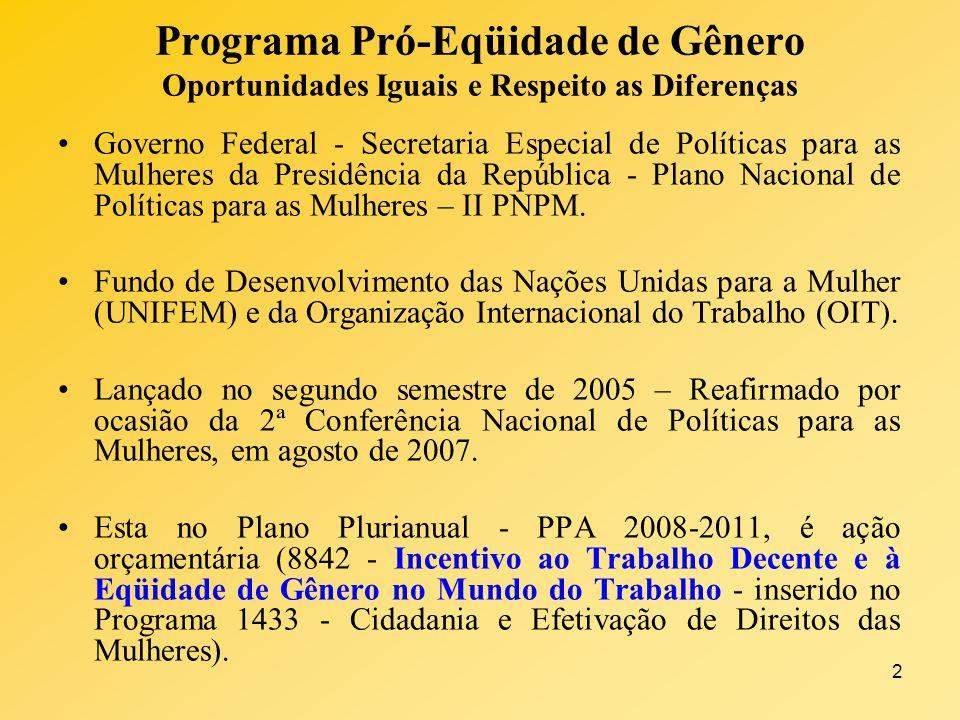 2 Programa Pró-Eqüidade de Gênero Oportunidades Iguais e Respeito as Diferenças Governo Federal - Secretaria Especial de Políticas para as Mulheres da