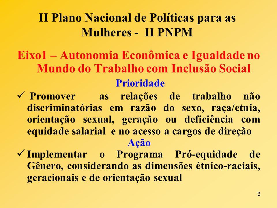 3 II Plano Nacional de Políticas para as Mulheres - II PNPM Eixo1 – Autonomia Econômica e Igualdade no Mundo do Trabalho com Inclusão Social Prioridad