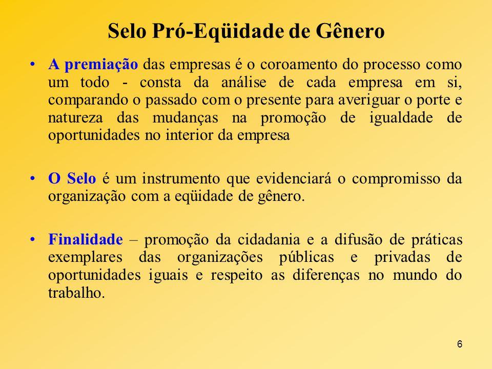 6 Selo Pró-Eqüidade de Gênero A premiação das empresas é o coroamento do processo como um todo - consta da análise de cada empresa em si, comparando o
