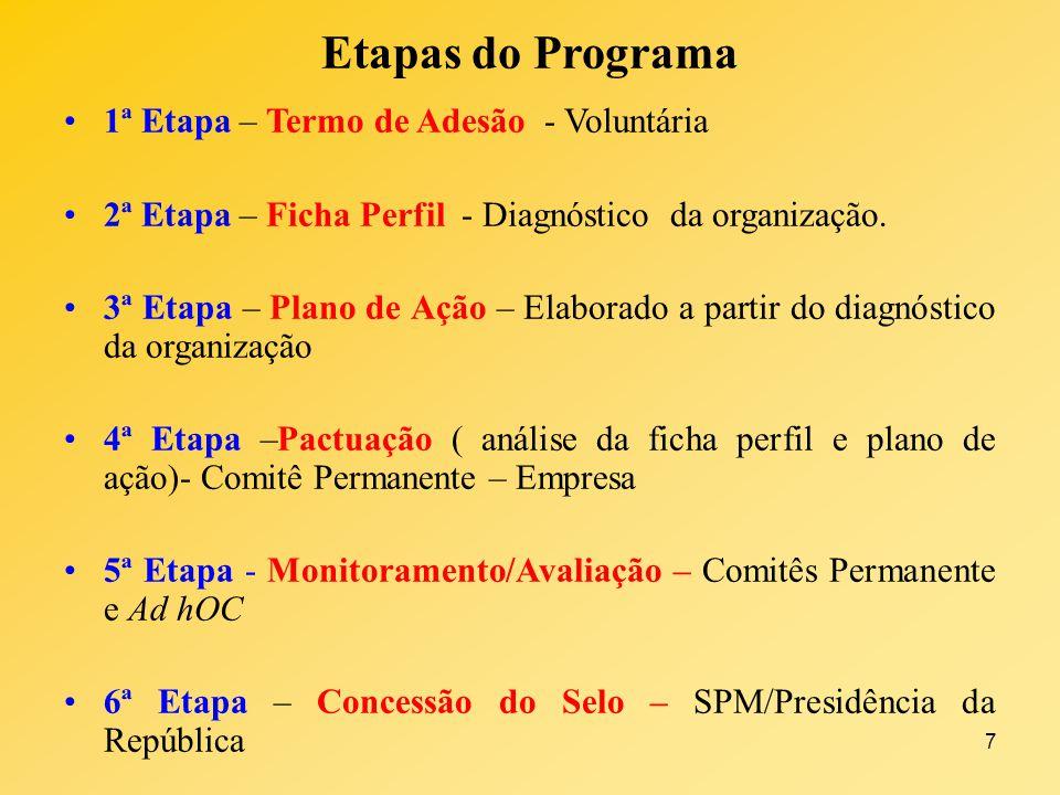 7 Etapas do Programa 1ª Etapa – Termo de Adesão - Voluntária 2ª Etapa – Ficha Perfil - Diagnóstico da organização. 3ª Etapa – Plano de Ação – Elaborad