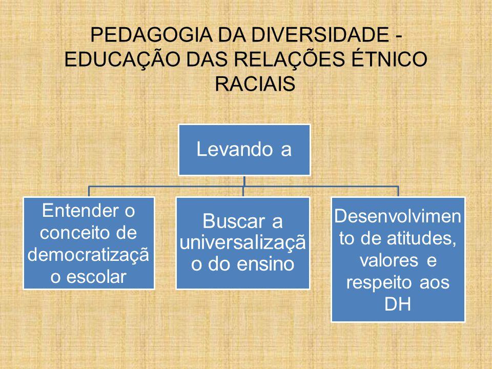 PEDAGOGIA DA DIVERSIDADE - EDUCAÇÃO DAS RELAÇÕES ÉTNICO RACIAIS Levando a Entender o conceito de democratizaçã o escolar Buscar a universalizaçã o do