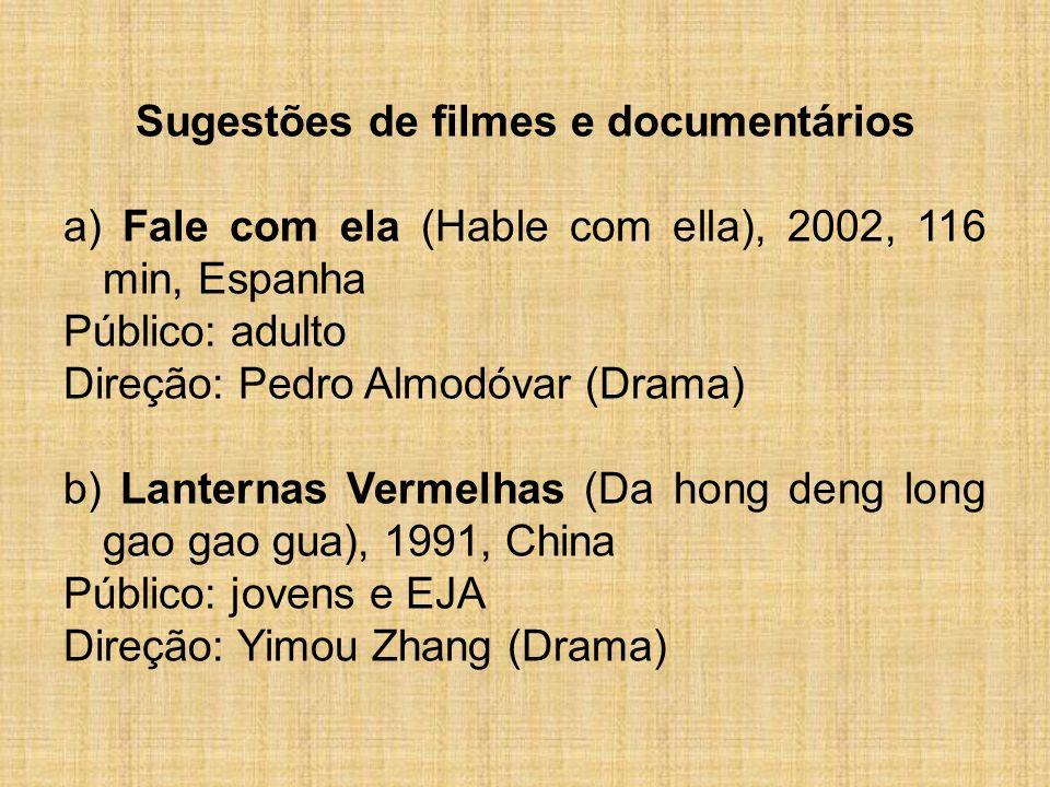Sugestões de filmes e documentários a) Fale com ela (Hable com ella), 2002, 116 min, Espanha Público: adulto Direção: Pedro Almodóvar (Drama) b) Lante