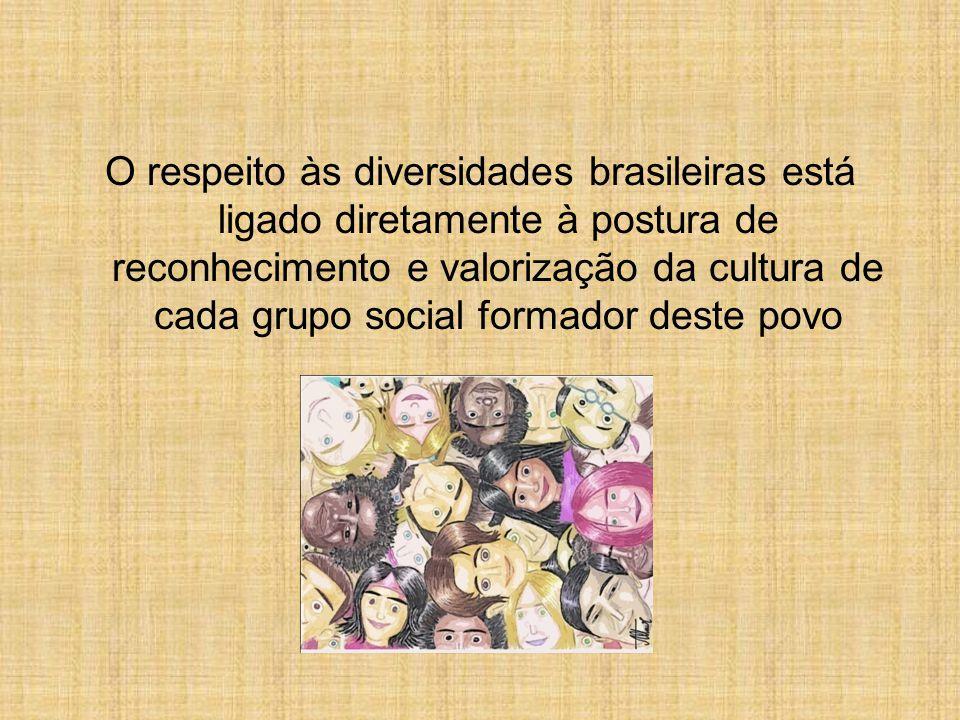 O respeito às diversidades brasileiras está ligado diretamente à postura de reconhecimento e valorização da cultura de cada grupo social formador deste povo