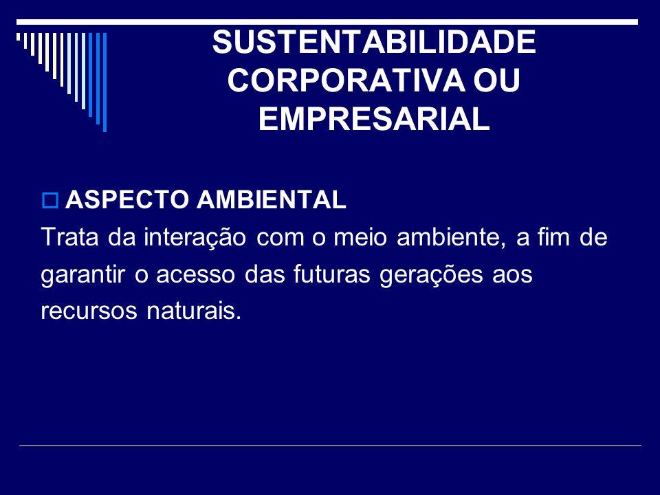 SUSTENTABILIDADE CORPORATIVA OU EMPRESARIAL  ASPECTO AMBIENTAL Trata da interação com o meio ambiente, a fim de garantir o acesso das futuras geraçõe