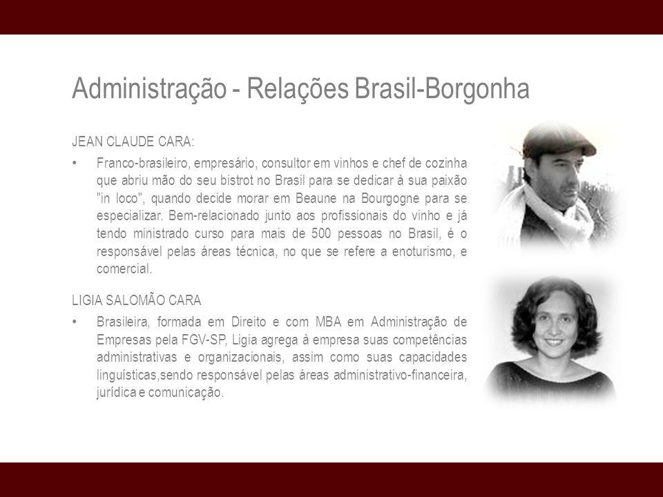 Administração - Relações Brasil-Borgonha JEAN CLAUDE CARA: Franco-brasileiro, empresário, consultor em vinhos e chef de cozinha que abriu mão do seu bistrot no Brasil para se dedicar à sua paixão in loco , quando decide morar em Beaune na Bourgogne para se especializar.