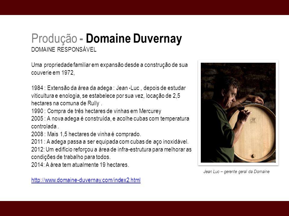 Produção - Domaine Duvernay DOMAINE RESPONSÁVEL Uma propriedade familiar em expansão desde a construção de sua couverie em 1972, 1984 : Extensão da área da adega : Jean -Luc, depois de estudar viticultura e enologia, se estabelece por sua vez, locação de 2,5 hectares na comuna de Rully.