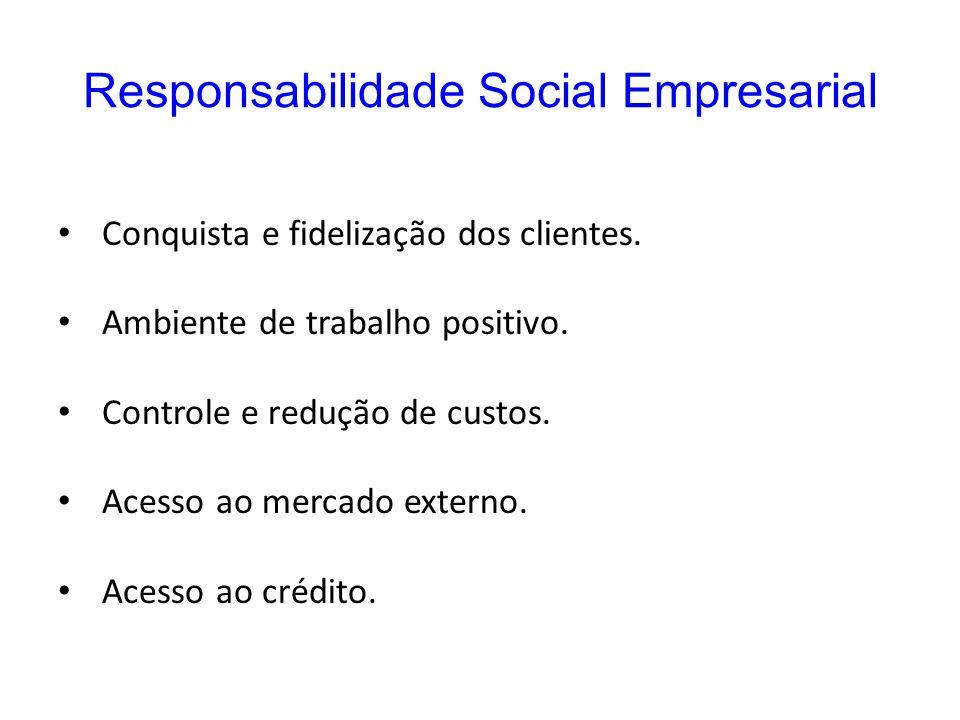Responsabilidade Social Empresarial Conquista e fidelização dos clientes. Ambiente de trabalho positivo. Controle e redução de custos. Acesso ao merca