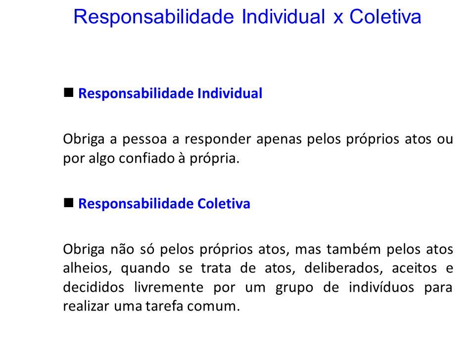 Responsabilidade Individual x Coletiva Responsabilidade Individual Obriga a pessoa a responder apenas pelos próprios atos ou por algo confiado à própr