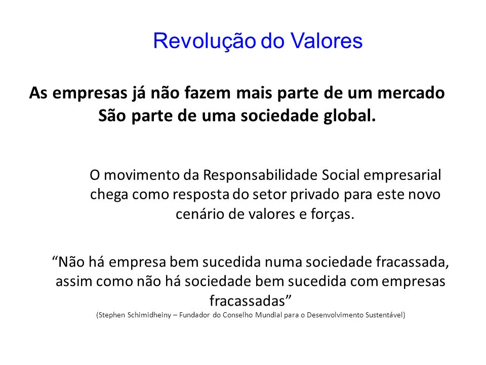 Revolução do Valores As empresas já não fazem mais parte de um mercado São parte de uma sociedade global. O movimento da Responsabilidade Social empre