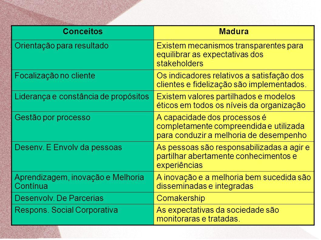 ConceitosMadura Orientação para resultadoExistem mecanismos transparentes para equilibrar as expectativas dos stakeholders Focalização no clienteOs in