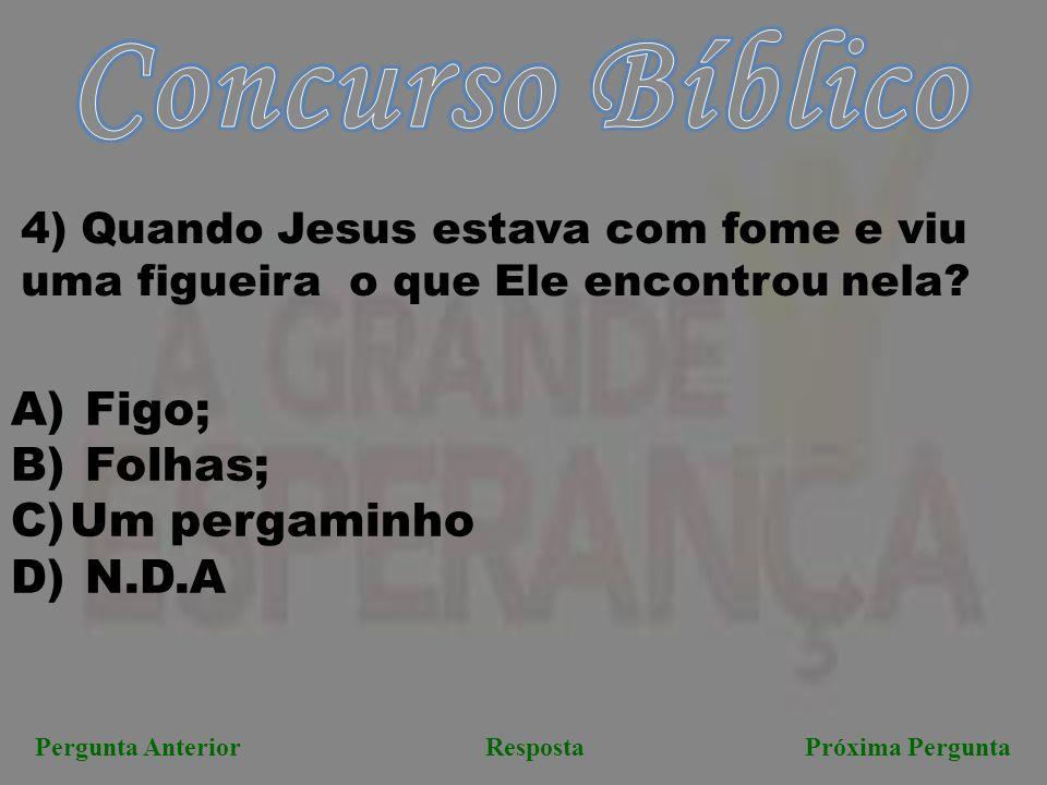 Próxima PerguntaPergunta AnteriorResposta 4) Quando Jesus estava com fome e viu uma figueira o que Ele encontrou nela? A) Figo; B) Folhas; C)Um pergam