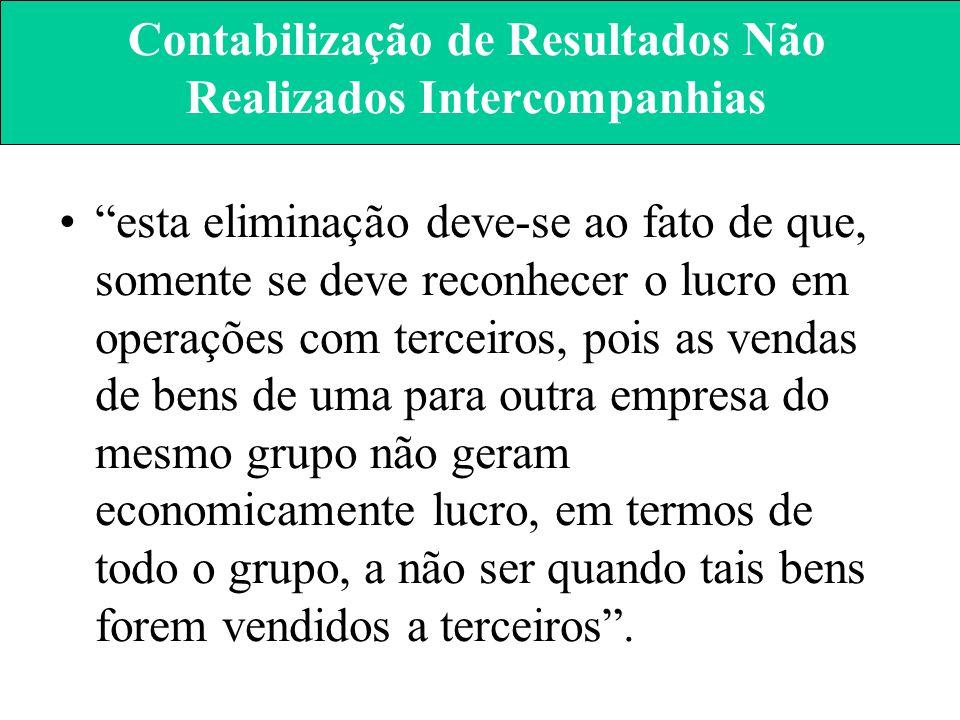 """Contabilização de Resultados Não Realizados Intercompanhias """"no valor do patrimônio da coligada ou controlada, não serão computados os resultados não"""