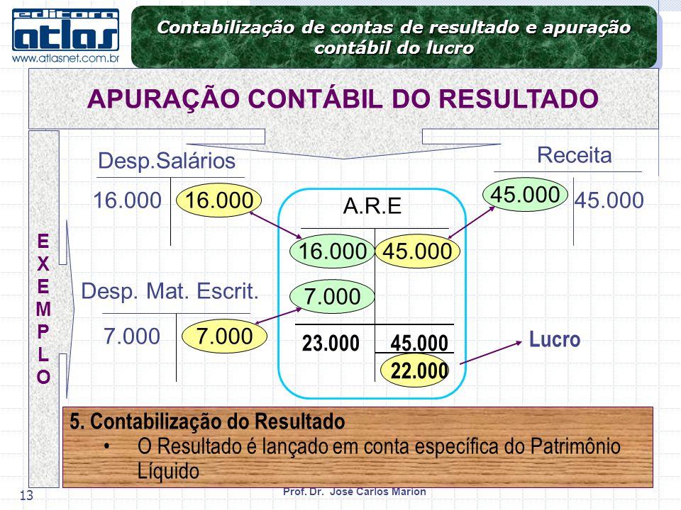 Prof. Dr. José Carlos Marion 13 Contabilização de contas de resultado e apuração contábil do lucro Contabilização de contas de resultado e apuração co