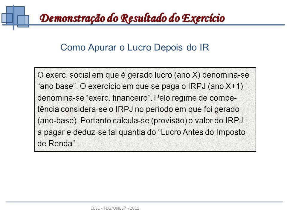 """EESC - FEG/UNESP - 2011 Como Apurar o Lucro Depois do IR O exerc. social em que é gerado lucro (ano X) denomina-se """"ano base"""". O exercício em que se p"""