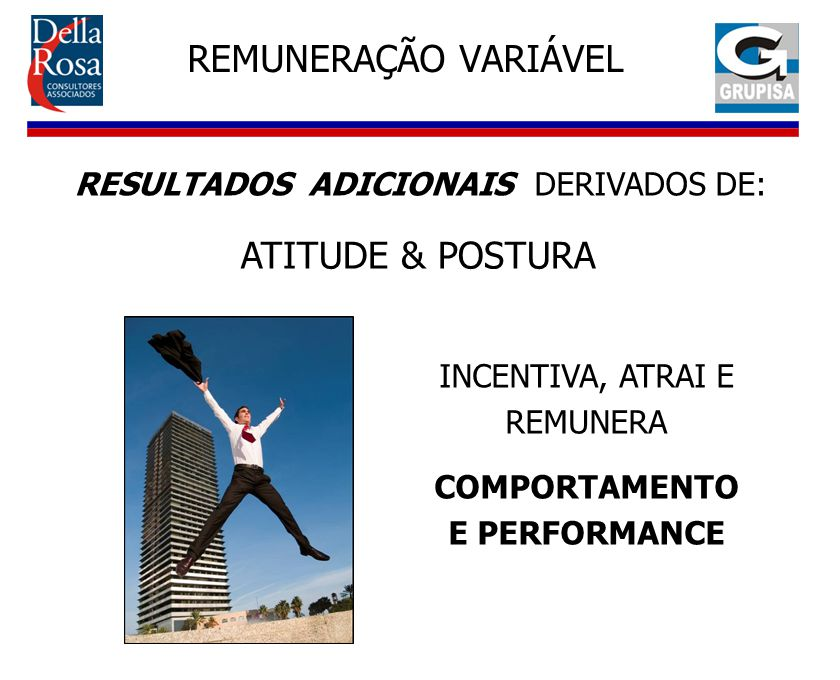 REMUNERAÇÃO VARIÁVEL INCENTIVA, ATRAI E REMUNERA COMPORTAMENTO E PERFORMANCE RESULTADOS ADICIONAIS DERIVADOS DE: ATITUDE & POSTURA