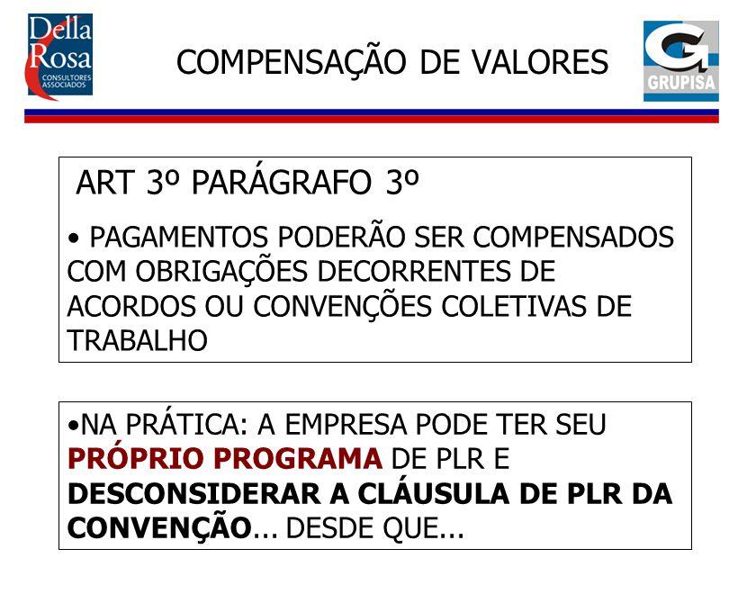COMPENSAÇÃO DE VALORES ART 3º PARÁGRAFO 3º PAGAMENTOS PODERÃO SER COMPENSADOS COM OBRIGAÇÕES DECORRENTES DE ACORDOS OU CONVENÇÕES COLETIVAS DE TRABALH