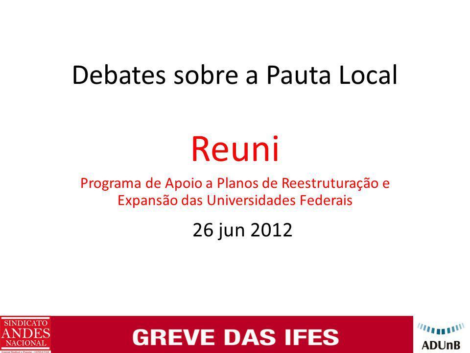 Debates sobre a Pauta Local Reuni Programa de Apoio a Planos de Reestruturação e Expansão das Universidades Federais 26 jun 2012