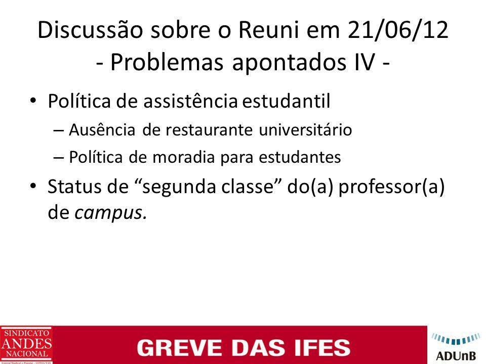 Discussão sobre o Reuni em 21/06/12 - Problemas apontados IV - Política de assistência estudantil – Ausência de restaurante universitário – Política de moradia para estudantes Status de segunda classe do(a) professor(a) de campus.