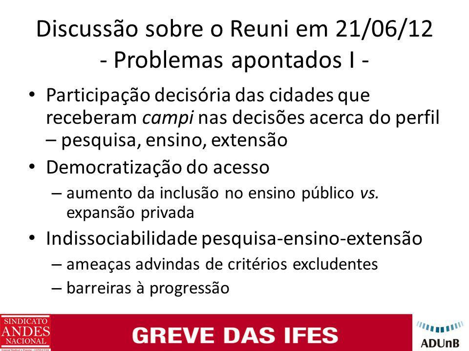 Discussão sobre o Reuni em 21/06/12 - Problemas apontados I - Participação decisória das cidades que receberam campi nas decisões acerca do perfil – p