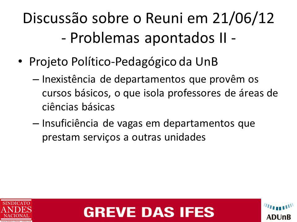 Discussão sobre o Reuni em 21/06/12 - Problemas apontados II - Projeto Político-Pedagógico da UnB – Inexistência de departamentos que provêm os cursos