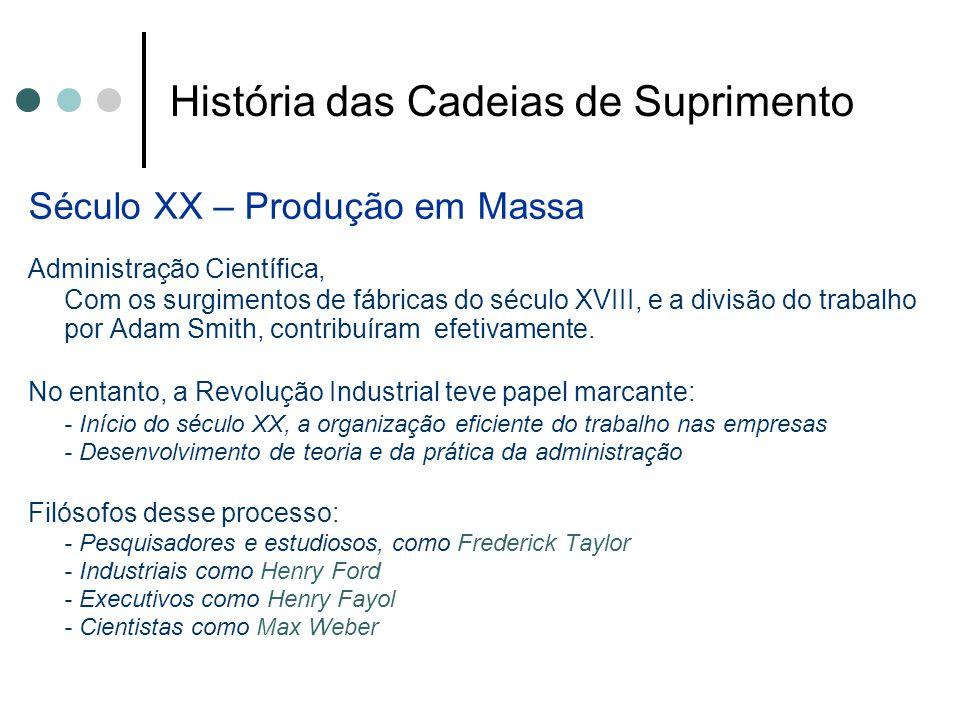História das Cadeias de Suprimento Século XX – Produção em Massa Administração Científica, Com os surgimentos de fábricas do século XVIII, e a divisão