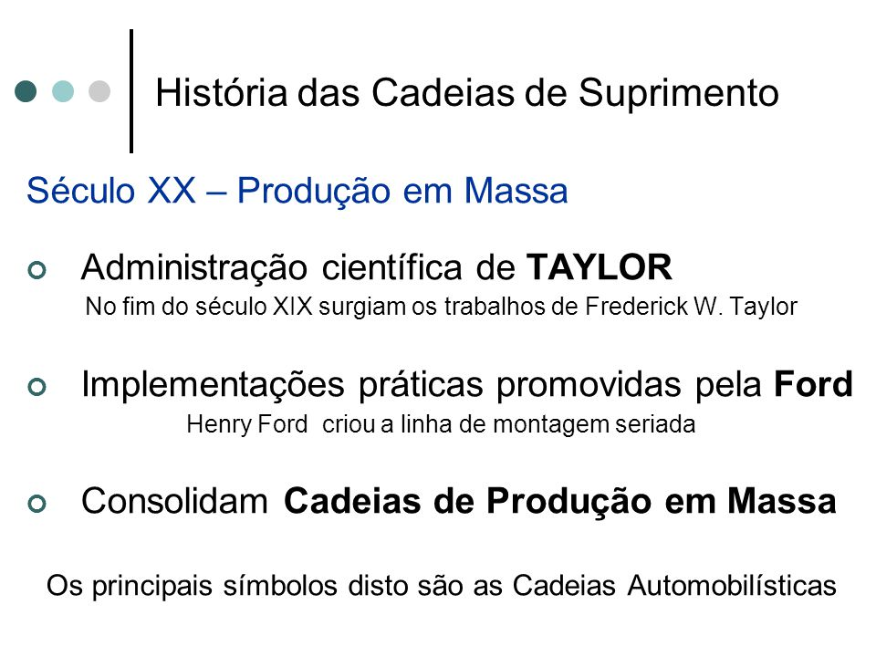 História das Cadeias de Suprimento Século XX – Produção em Massa Administração científica de TAYLOR No fim do século XIX surgiam os trabalhos de Frede