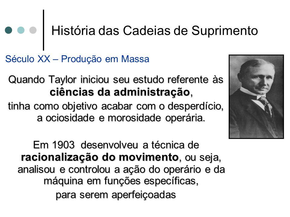 História das Cadeias de Suprimento Século XX – Produção em Massa Quando Taylor iniciou seu estudo referente às ciências da administração, tinha como o