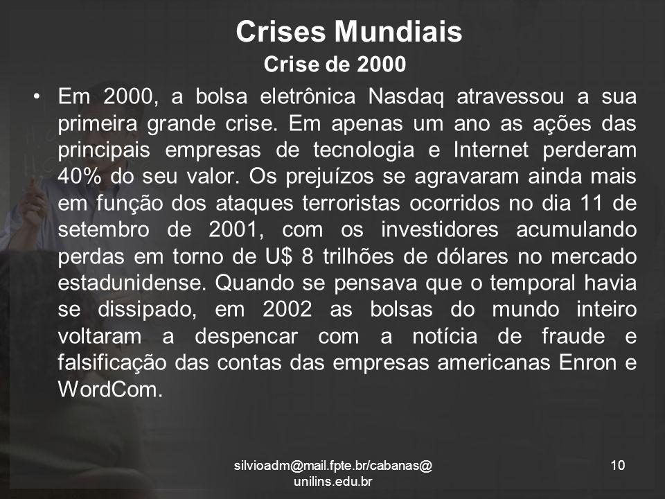 Crises Mundiais Crise de 2000 Em 2000, a bolsa eletrônica Nasdaq atravessou a sua primeira grande crise.