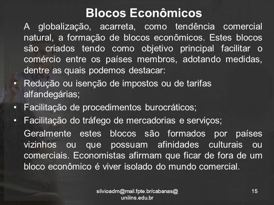 Blocos Econômicos A globalização, acarreta, como tendência comercial natural, a formação de blocos econômicos.