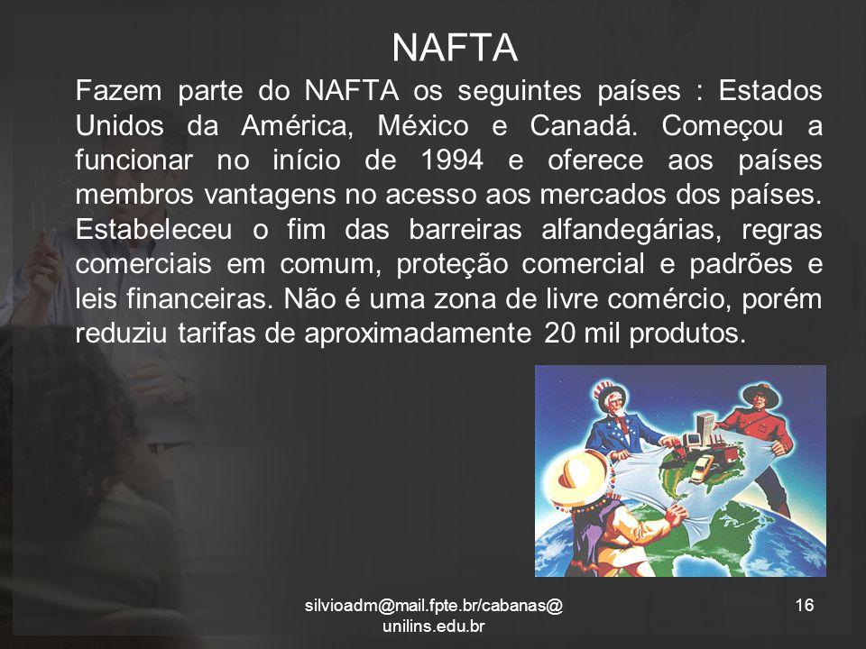 NAFTA Fazem parte do NAFTA os seguintes países : Estados Unidos da América, México e Canadá.
