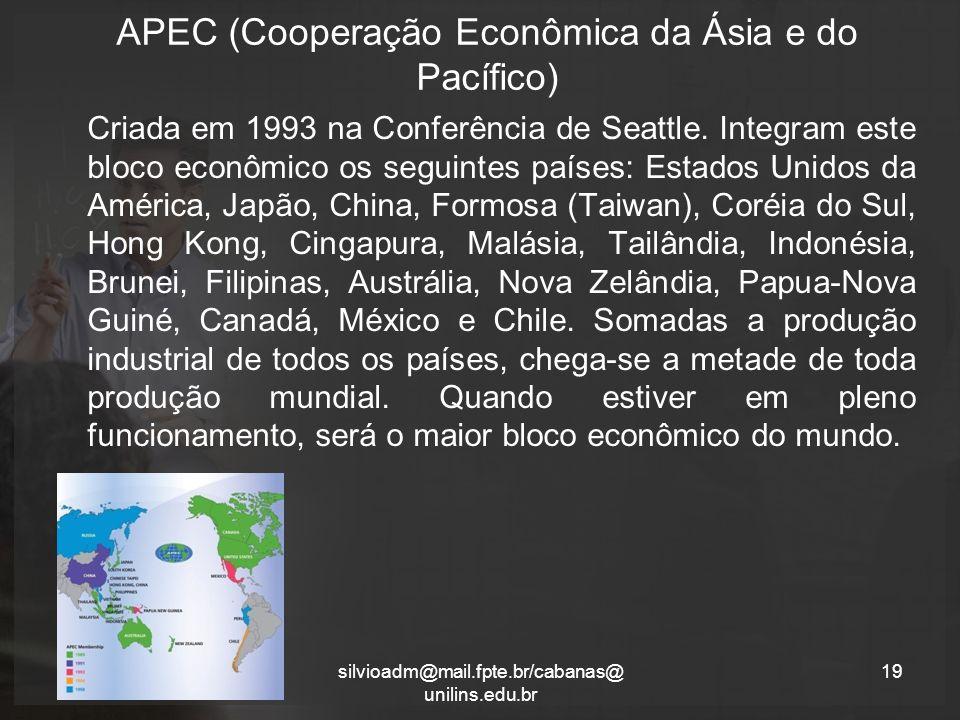 APEC (Cooperação Econômica da Ásia e do Pacífico) Criada em 1993 na Conferência de Seattle.