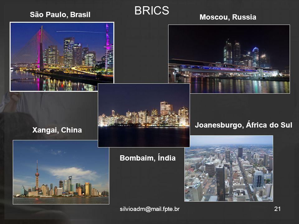 BRICS silvioadm@mail.fpte.br21 São Paulo, Brasil Moscou, Russia Bombaim, Índia Xangai, China Joanesburgo, África do Sul