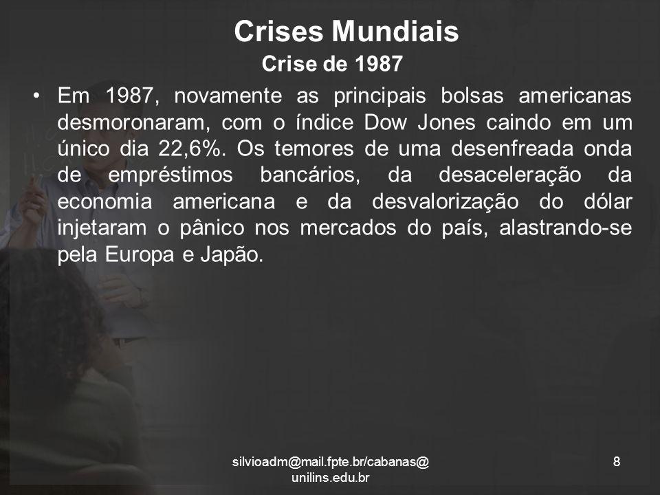 Crises Mundiais Crise de 1987 Em 1987, novamente as principais bolsas americanas desmoronaram, com o índice Dow Jones caindo em um único dia 22,6%.