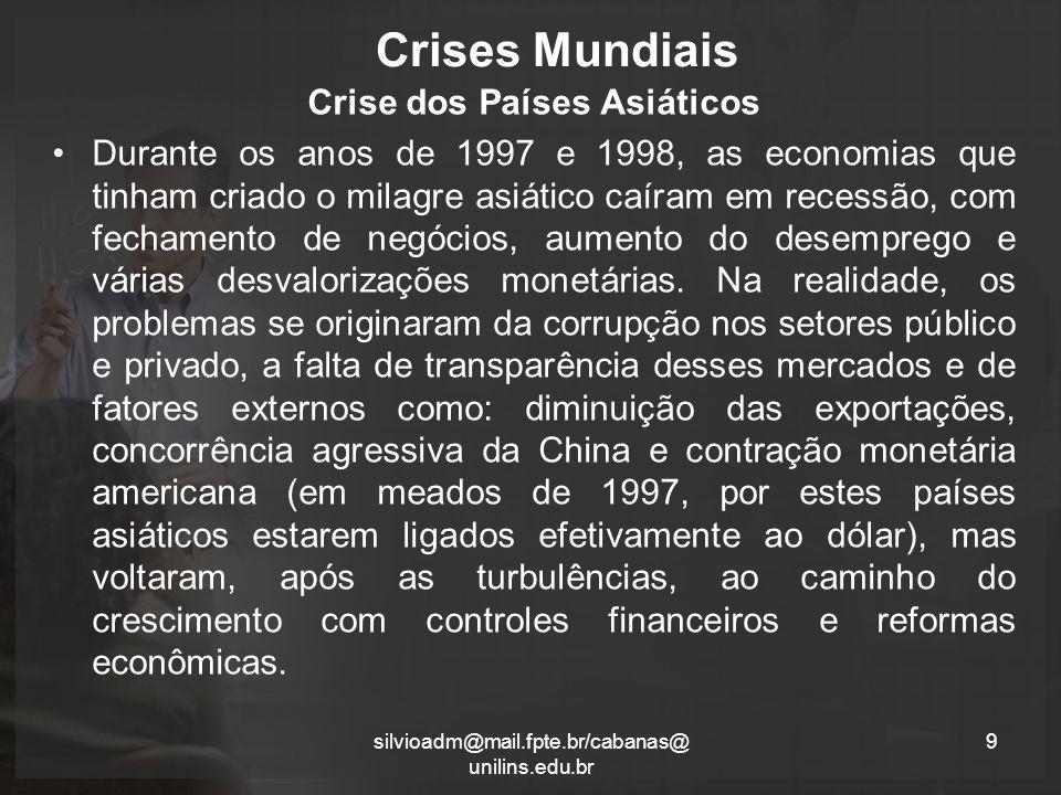 Crises Mundiais Crise dos Países Asiáticos Durante os anos de 1997 e 1998, as economias que tinham criado o milagre asiático caíram em recessão, com fechamento de negócios, aumento do desemprego e várias desvalorizações monetárias.