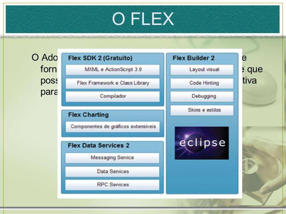 O FLEX O Adobe Flex é uma solução completa para criar e fornecer aplicações ricas, robustas, interativas e que possibilitem uma interface mais amigável e intuitiva para o usuário