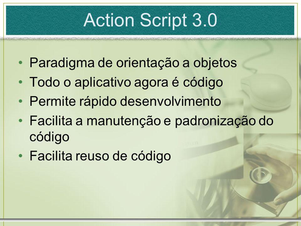 Action Script 3.0 Paradigma de orientação a objetos Todo o aplicativo agora é código Permite rápido desenvolvimento Facilita a manutenção e padronização do código Facilita reuso de código