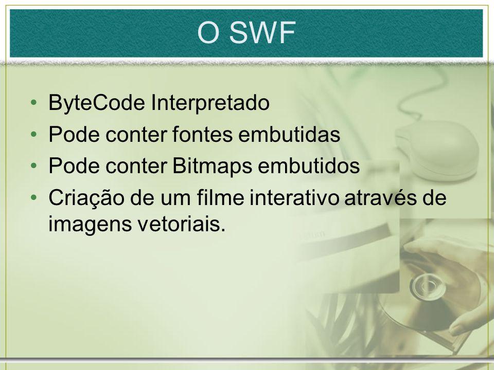O SWF ByteCode Interpretado Pode conter fontes embutidas Pode conter Bitmaps embutidos Criação de um filme interativo através de imagens vetoriais.