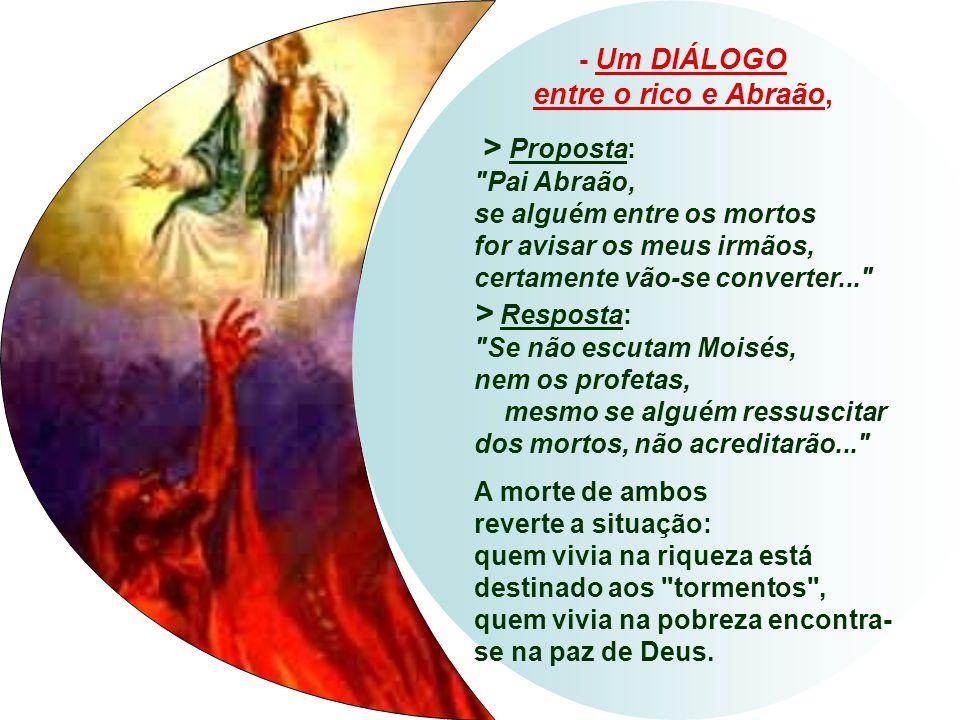 No Evangelho, temos o julgamento de Deus sobre a distribuição das riquezas. A Parábola do homem Rico e do pobre Lázaro (Lc 16,19-31) tem três quadros: